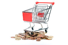 Shopping Cart V1 with coins. Shopping Cart with coins isolated on white background Royalty Free Stock Images