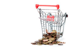 Shopping Cart V3 with coins. Shopping cart with coins isolated on white background Royalty Free Stock Photo