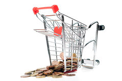 Shopping Cart V4 with coins. Shopping cart with coins isolated on white background Royalty Free Stock Image