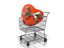 Shopping Cart Valentine's Heart Gift Box Royalty Free Stock Image