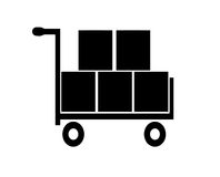Shopping cart vector. Basket with boxes Royalty Free Stock Photo