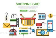 Shopping Cart vector flat line art infographics banner Stock Photo