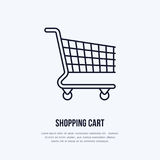 Shopping cart vector flat line icons. Retail store supplies, trade shop, supermarket equipment sign. Commercial trolley Royalty Free Stock Photo