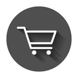 Shopping cart vector icon. Flat illustration on black round back. Ground with long shadow Royalty Free Stock Photography