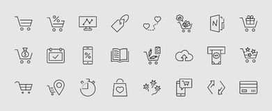 Shopping Cart Vector Line Icons Set: Money, ATM, List Products, Vegetables, Bank Card, Terminal, Bag, Favorite Shopping royalty free illustration