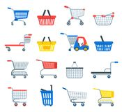 Shopping cart vector shop pushcart trolley shopper or carter with empty basket and bag buy in store illustration. On white background stock illustration