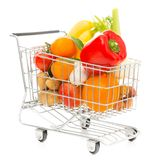 Shopping Cart With Vegetables And Fruit, Diagonal View. Studio shot of a shopping cart with vegetables and fruit, diagonal view Stock Photos
