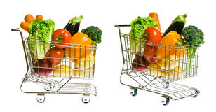 Shopping Cart With Vegetables Stock Photography