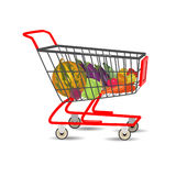 Shopping cart with vegetables. Vector Illustration. Royalty Free Stock Photo