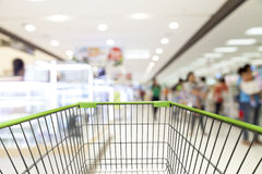 Shopping cart view with Blurred defocused background of generic Royalty Free Stock Photography