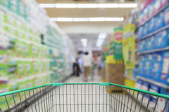 Shopping cart view with Blurred defocused background of generic Stock Photography