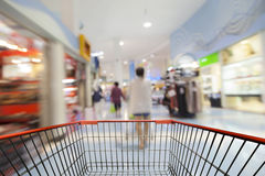 Shopping cart view with Blurred defocused background of generic Royalty Free Stock Images