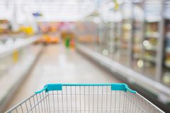 Shopping Cart View in Supermarket Aisle Royalty Free Stock Image