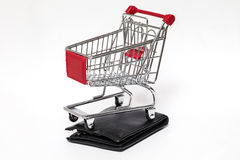 Shopping cart and wallet isolated Stock Photos