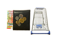 Shopping cart and wallet and Israeli shekels Royalty Free Stock Photo