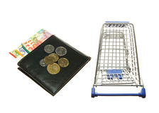 Shopping cart and wallet and Israeli shekels Royalty Free Stock Photos