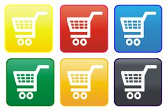 Shopping cart web button Stock Photography