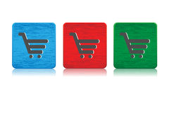 Shopping cart web buttons. Sketched looking shopping cart web buttons come in three colors. Blue,red and green royalty free illustration