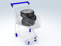 Shopping cart with wheels Stock Photo