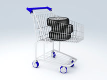 Shopping cart with wheels Stock Image