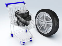 Shopping cart with wheels Stock Images