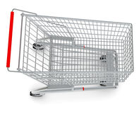 Shopping cart with wheels, top view Stock Photography