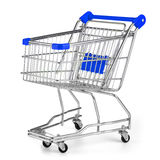 Shopping cart on white. Background royalty free stock photography
