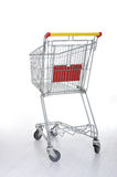 Shopping cart on white Stock Photos