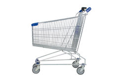 Shopping cart on white background. A cart for seller and buyer with clipping mask, isolatedand trolly. Real photo not CGI Royalty Free Stock Photos