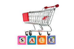Shopping cart on  the white  background Stock Photo