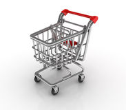 Shopping Cart on White Background Royalty Free Stock Photography