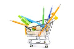 Shopping school supplies royalty free stock photo