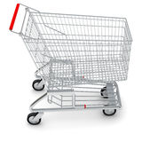 Shopping cart on white, close-up view Royalty Free Stock Images