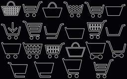 22 shopping cart of white obek line royalty free stock photos