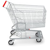 Shopping cart on white, side view Royalty Free Stock Image