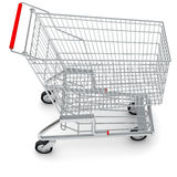 Shopping cart on white, top view Royalty Free Stock Photo