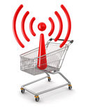 Shopping Cart and WiFi(clipping path included) Stock Photo