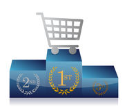 Shopping cart winner's podium Stock Images