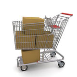 Shopping Cart With Boxes Royalty Free Stock Images