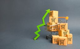 Free Shopping Cart With Cardboard Boxes With A Pattern Of Trading Carts And A Green Up Arrow. Increase The Pace Of Sales, Production Royalty Free Stock Photography - 150846267