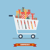 Shopping Cart With Piles Of Presents Royalty Free Stock Image