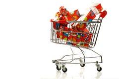 shopping cart withSinterklaaspresents Stock Photos