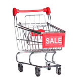 Shopping cart with word SALE, isolated Royalty Free Stock Images