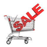 Shopping cart with word sale  on white. Background Royalty Free Stock Images