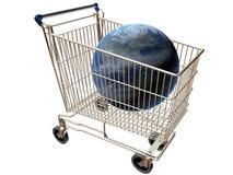 Shopping cart world. Shopping cart containing the world illustrating global sales stock illustration
