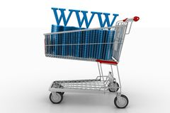 Shopping Cart With World Wide Web Royalty Free Stock Photography