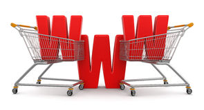 Shopping Cart and WWW  (clipping path included) Stock Photography