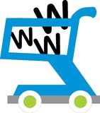 Shopping cart with www inside Stock Image