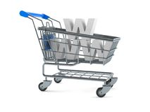 Shopping cart with www text Royalty Free Stock Images