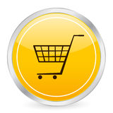 Shopping cart yellow circle ic. On. Vector illustration
